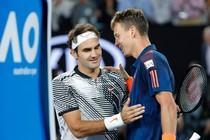 Roger Federer en Tomas Berdych © EPA