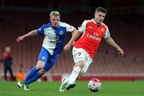 Daniel Crowley tijdens een duel tussen Arsenal-U21 en Blackburn Rovers-U21. © Hollandse Hoogte