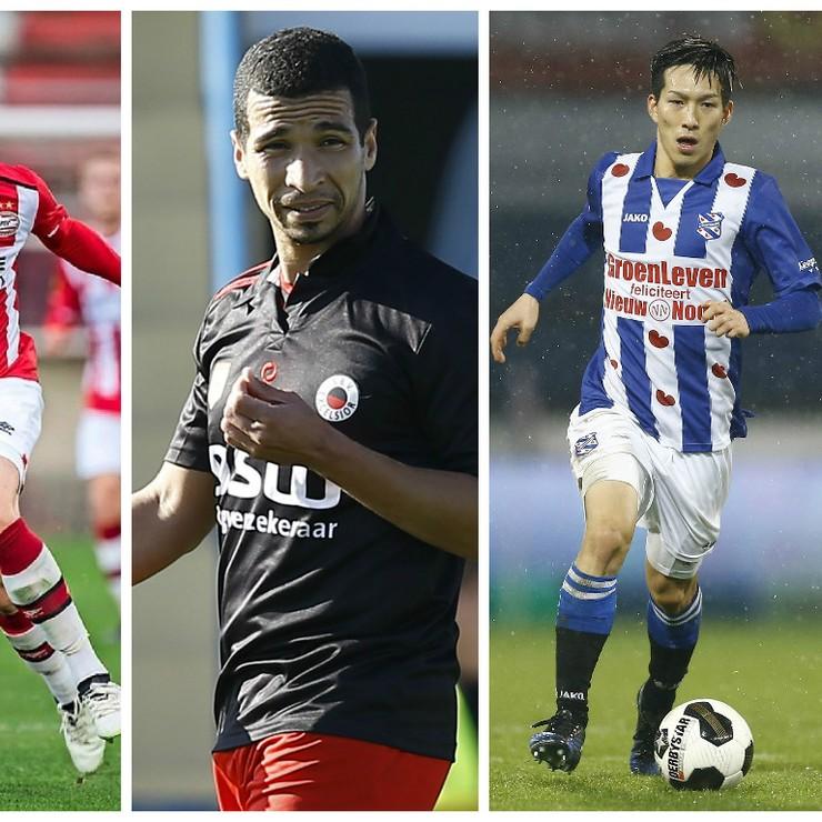 Vanaf links strijden vanavond Marco van Ginkel (PSV), Anouar Hadouir (Excelsior), Yuki Kobayashi (SC Heerenveen) en Tom Beugelsdijk (ADO Den Haag) om de punten. © Hollandse Hoogte.